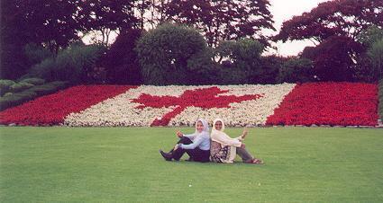 Des fleurs qui forment un drapeau du Canada