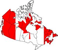 Un drapeau du Canada sur le fond du pays Canadien