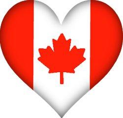 Le drapeau du Canada dans un coeur