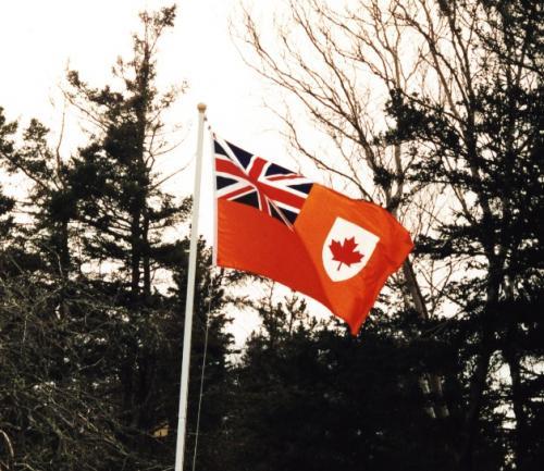 Un drapeau avec la feuille d'érable et l'union Jack